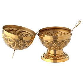 Naveta esférica barroca latón dorado 13 cm s2
