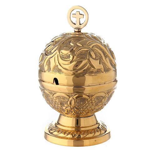 Naveta esférica barroca latón dorado 13 cm 1