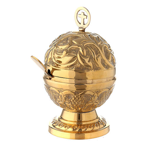 Spherical baroque boat in gold plated brass 5 in 3