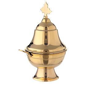 Naveta ovalada latón dorado con cuchara h 15 cm s2