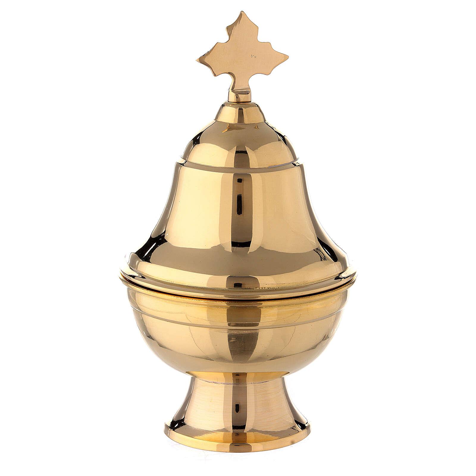 Navetta ovale ottone dorato con cucchiaio h 15 cm 3