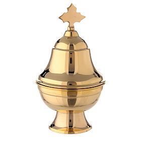 Navetta ovale ottone dorato con cucchiaio h 15 cm s1