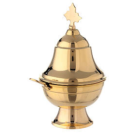 Navetta ovale ottone dorato con cucchiaio h 15 cm s2