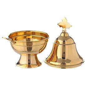 Navetta ovale ottone dorato con cucchiaio h 15 cm s3