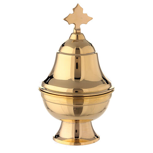 Oval boat of gold plated brass with spoon h 6 in 1