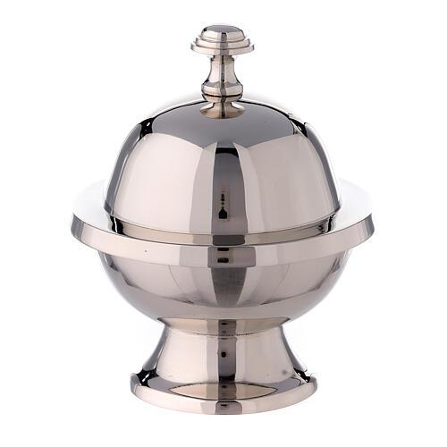 Navetta portaincenso sfera h 14 cm ottone nichelato 1