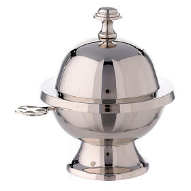 Spherical incense boat h 5 1/2 in nickel-plated brass s2