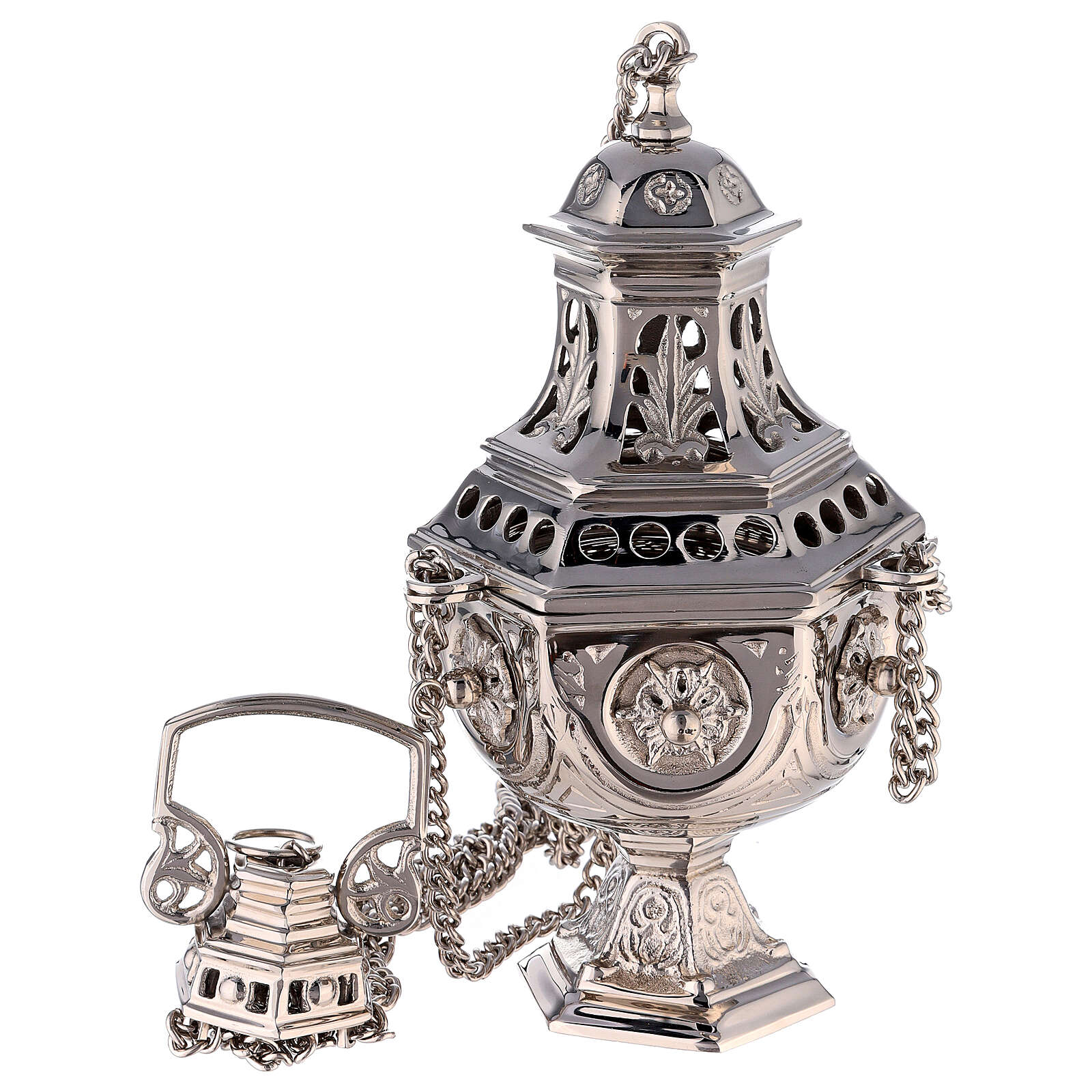 Hexagonal cut-out thurible in nickel-plated brass 10 1/2 in 3