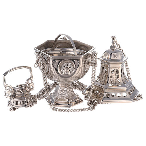 Hexagonal cut-out thurible in nickel-plated brass 10 1/2 in 2