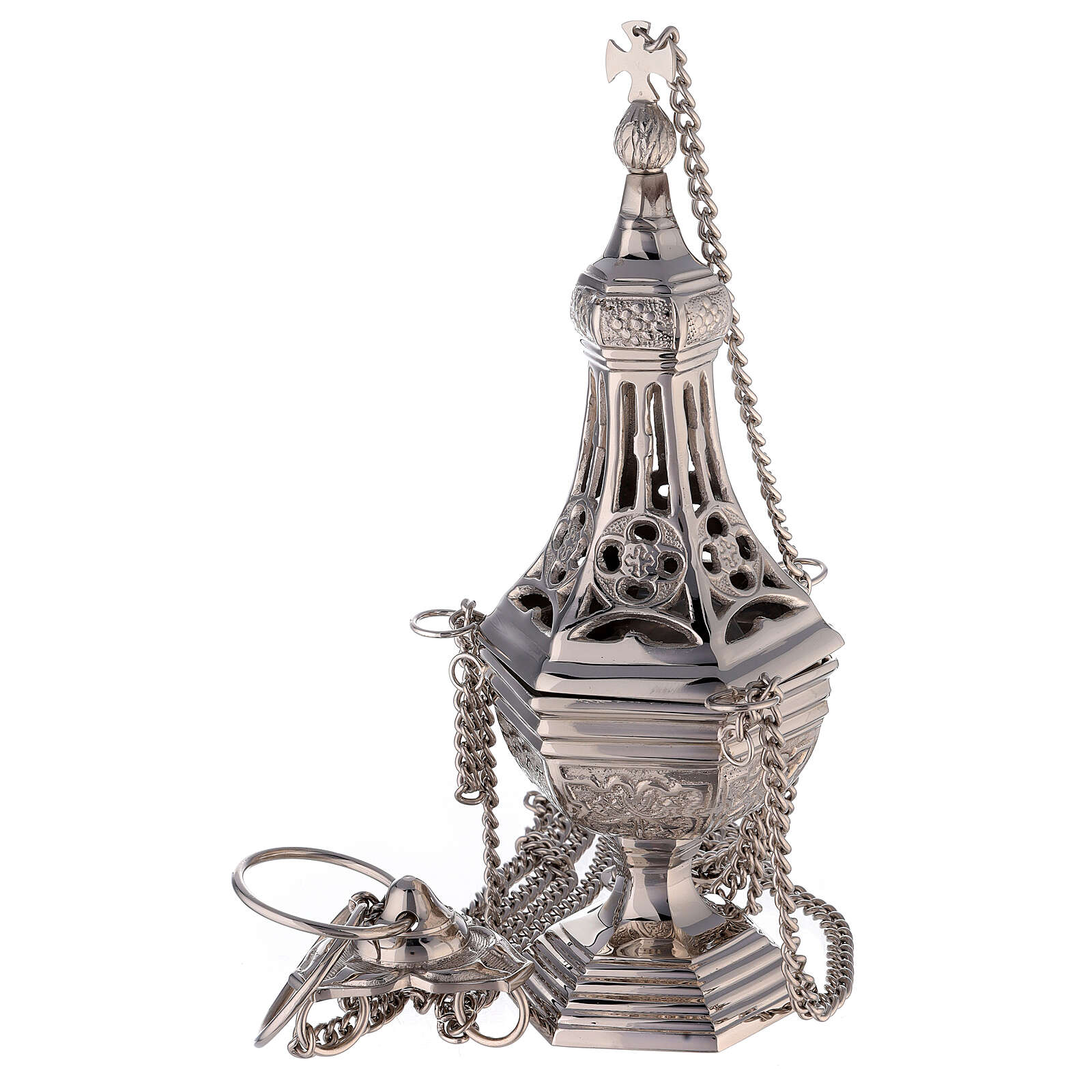 Neogothic drop-shaped thurible in nickel-plated brass 12 1/4 in 3
