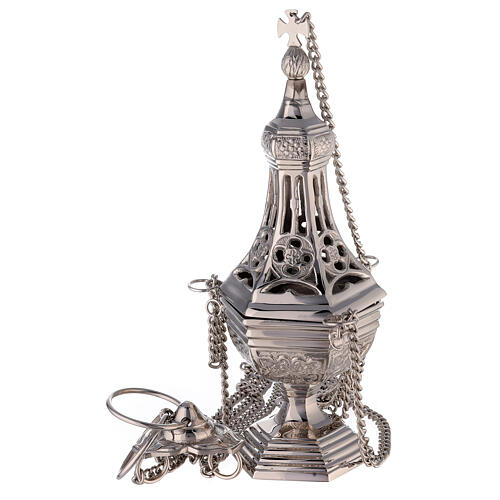 Neogothic drop-shaped thurible in nickel-plated brass 12 1/4 in 1