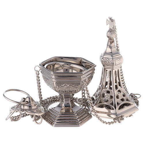 Neogothic drop-shaped thurible in nickel-plated brass 12 1/4 in 2