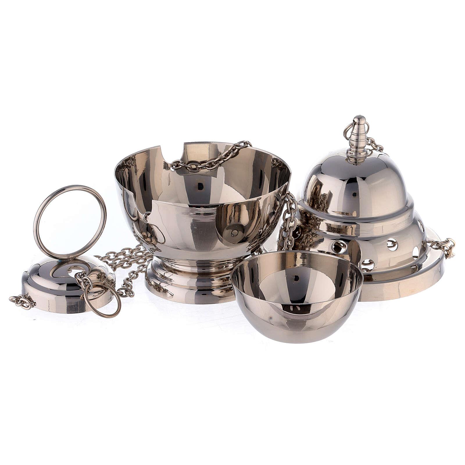 Encensoir ovale ouvertures rondes 15 cm laiton nickelé panier 3