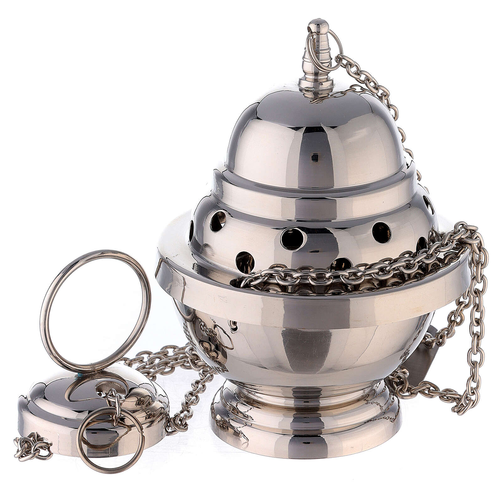 Oval censer with round holes 6 in nickel-plated brass 3