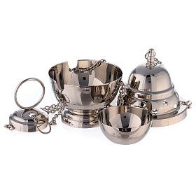 Oval censer with round holes 6 in nickel-plated brass s2