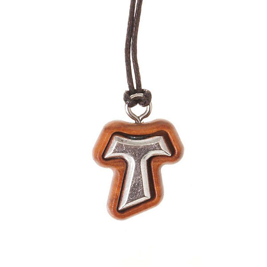 Pendant tau cross olive wood and metal 4