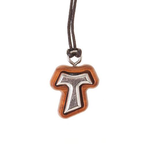 Pendant tau cross olive wood and metal 1