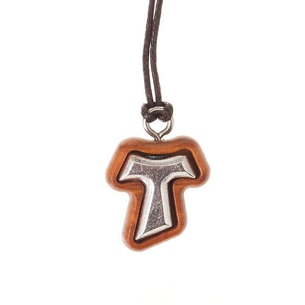 Pendant tau cross olive wood and metal 4
