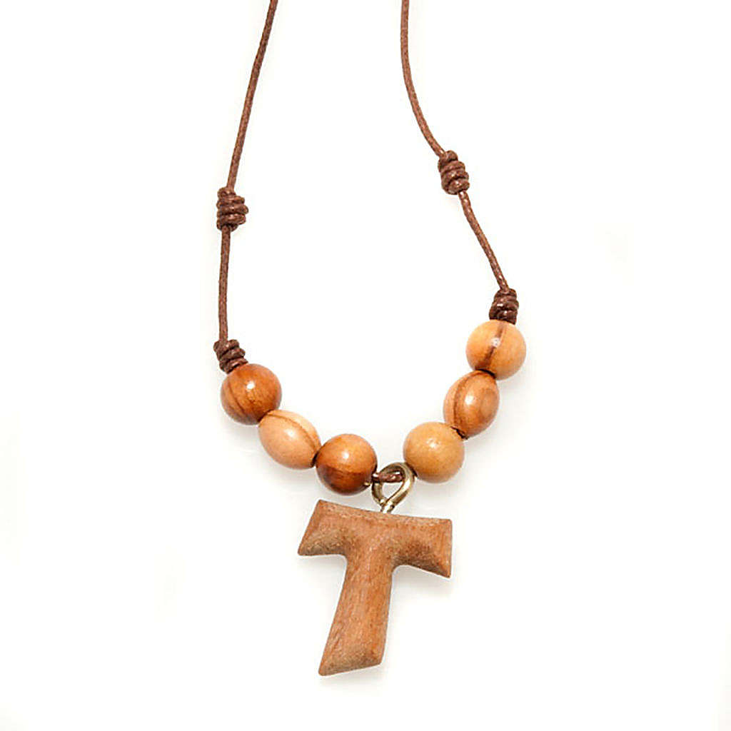 Tau cross pendant with rosary beads 4