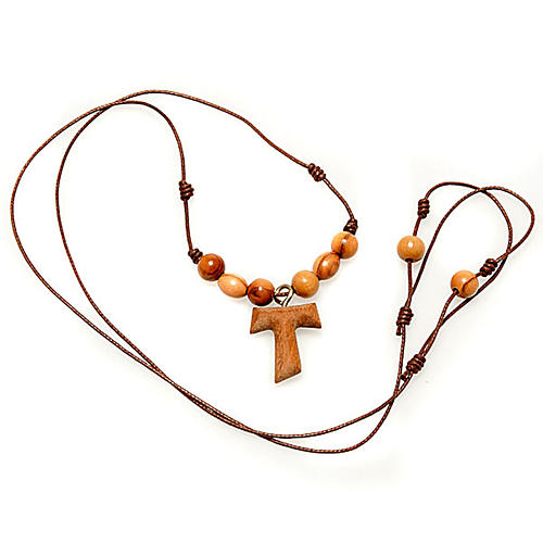 Tau cross pendant with rosary beads 2
