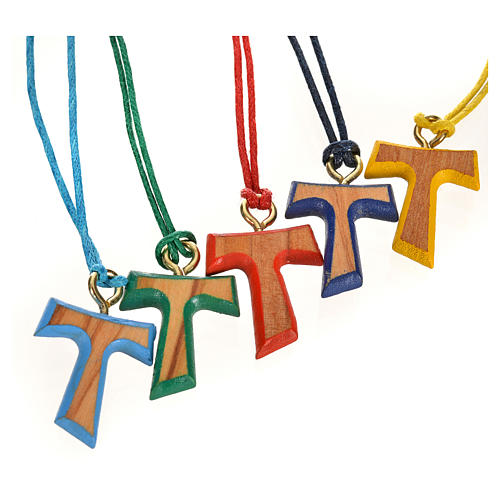 Coloured tau cross pendant 2