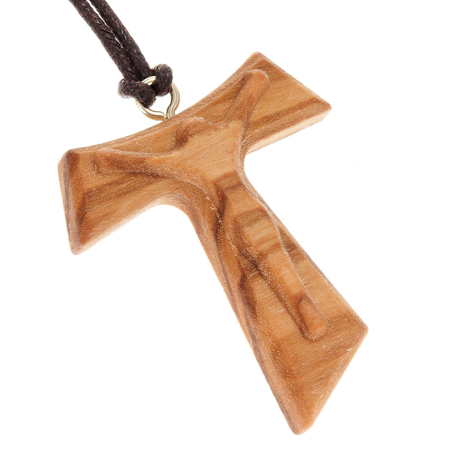 Colgante cruz Tau Jesús Resucitado en relieve 4