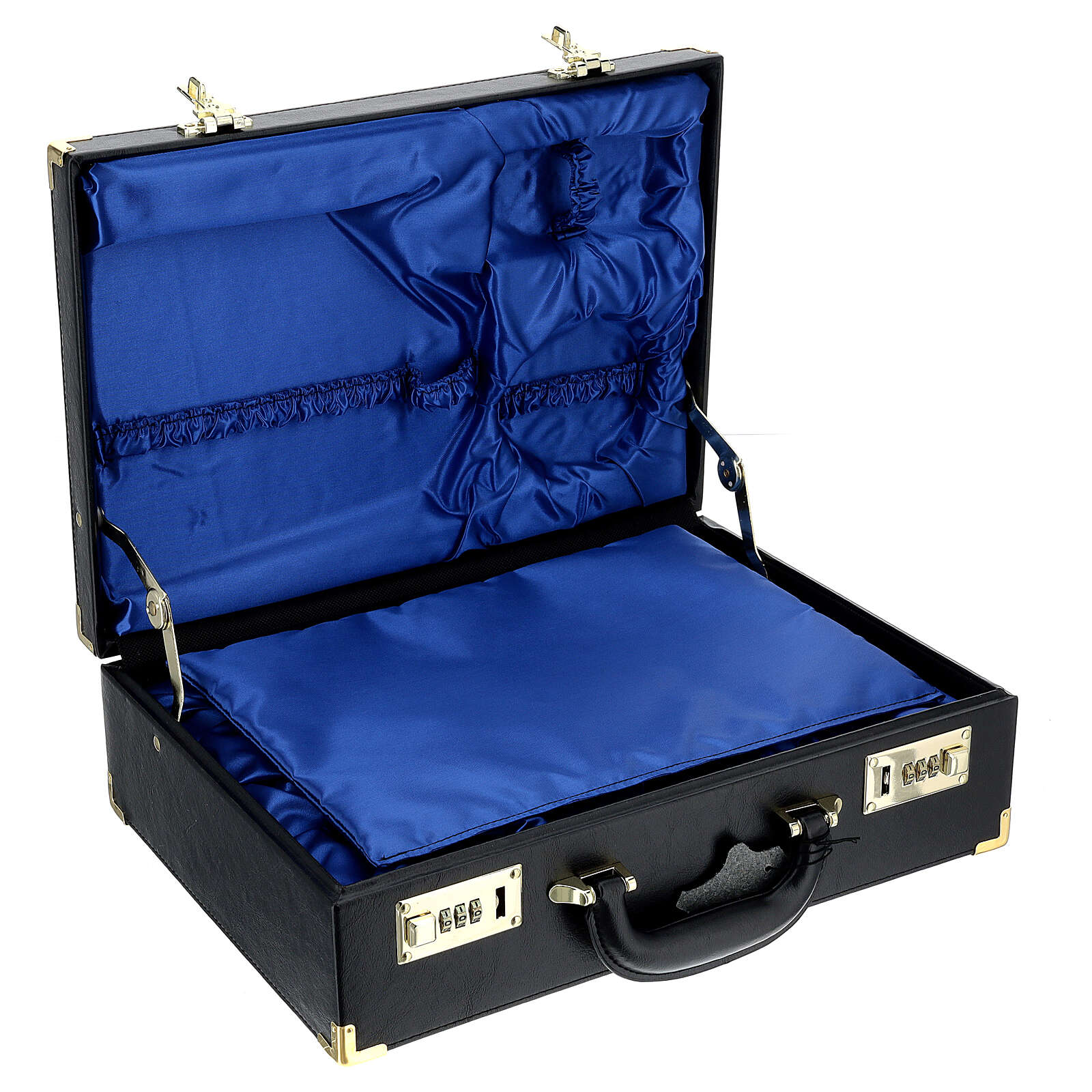 Case for travelling mass kits, empty with blue satin insides 3