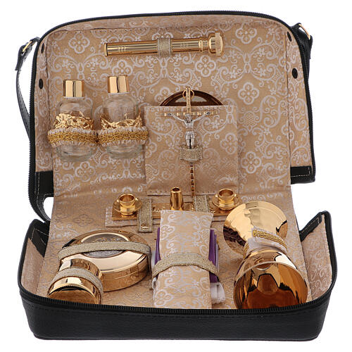 Mass kit with leather bag, lined with golden satin 1
