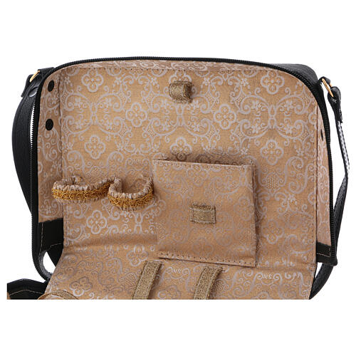 Mass kit with leather bag, lined with golden satin 5
