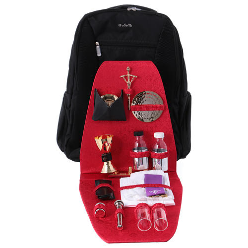Mochila trolley para celebraciones de tejido técnico y raso rojo 1