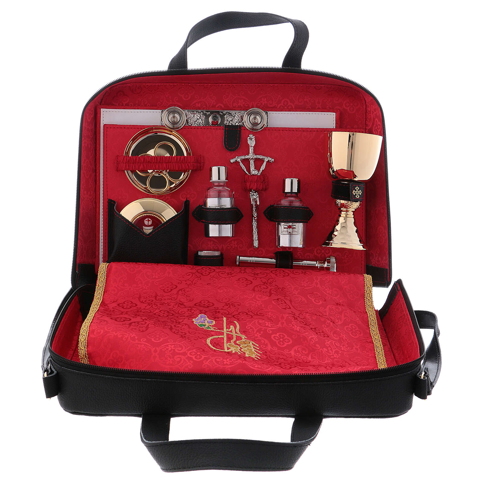 Mass kit with real leather bag, lined with red satin 3