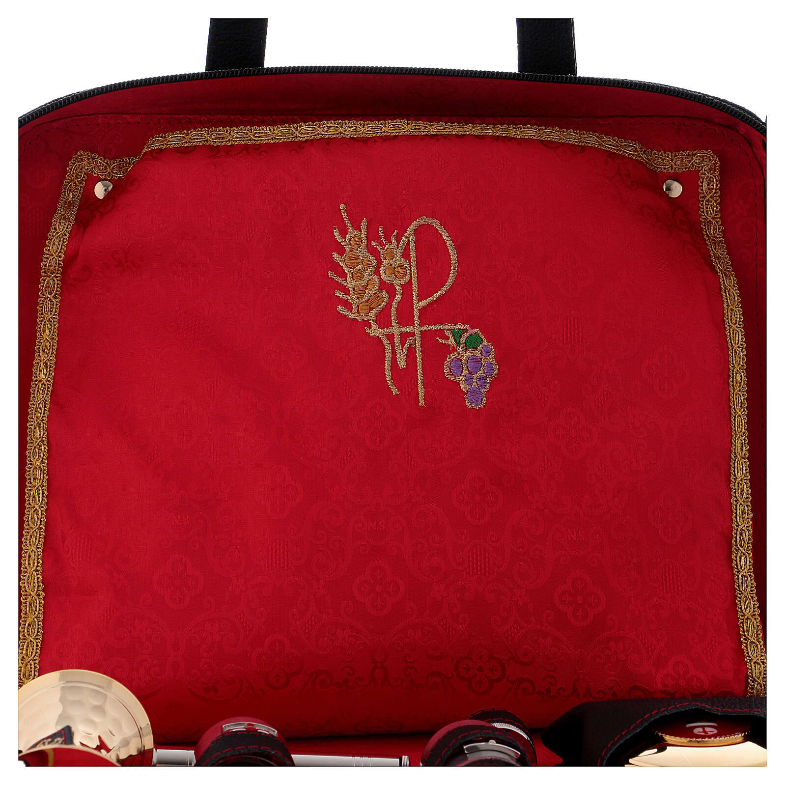 Leather bag with red satin lining and mass kit 3