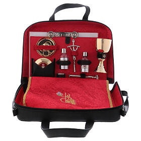 Leather bag with red satin lining and mass kit s1