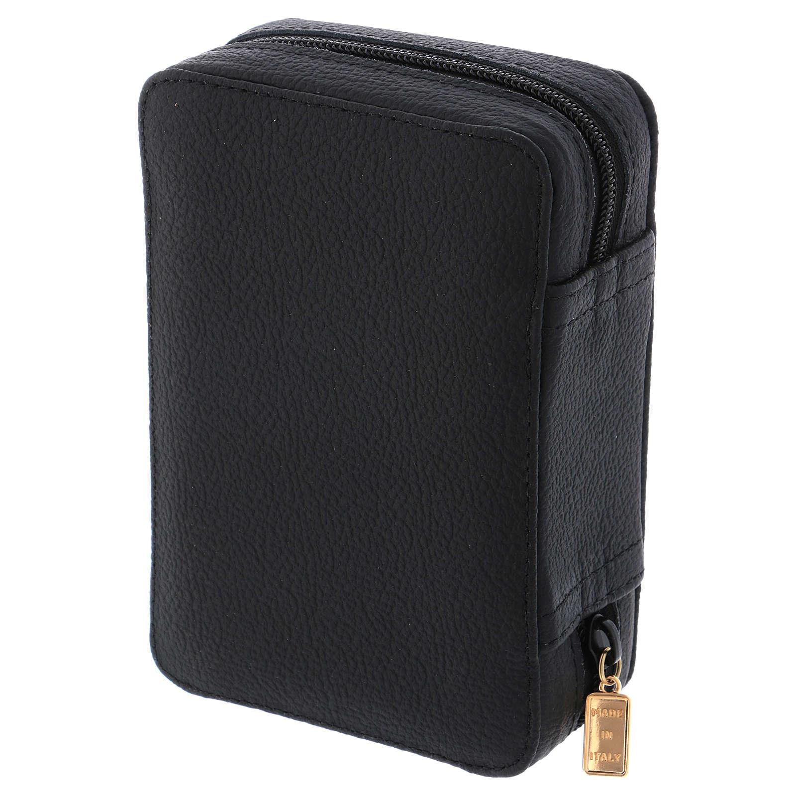 Estuche para relicario cuero negro y raso con accesorios 3