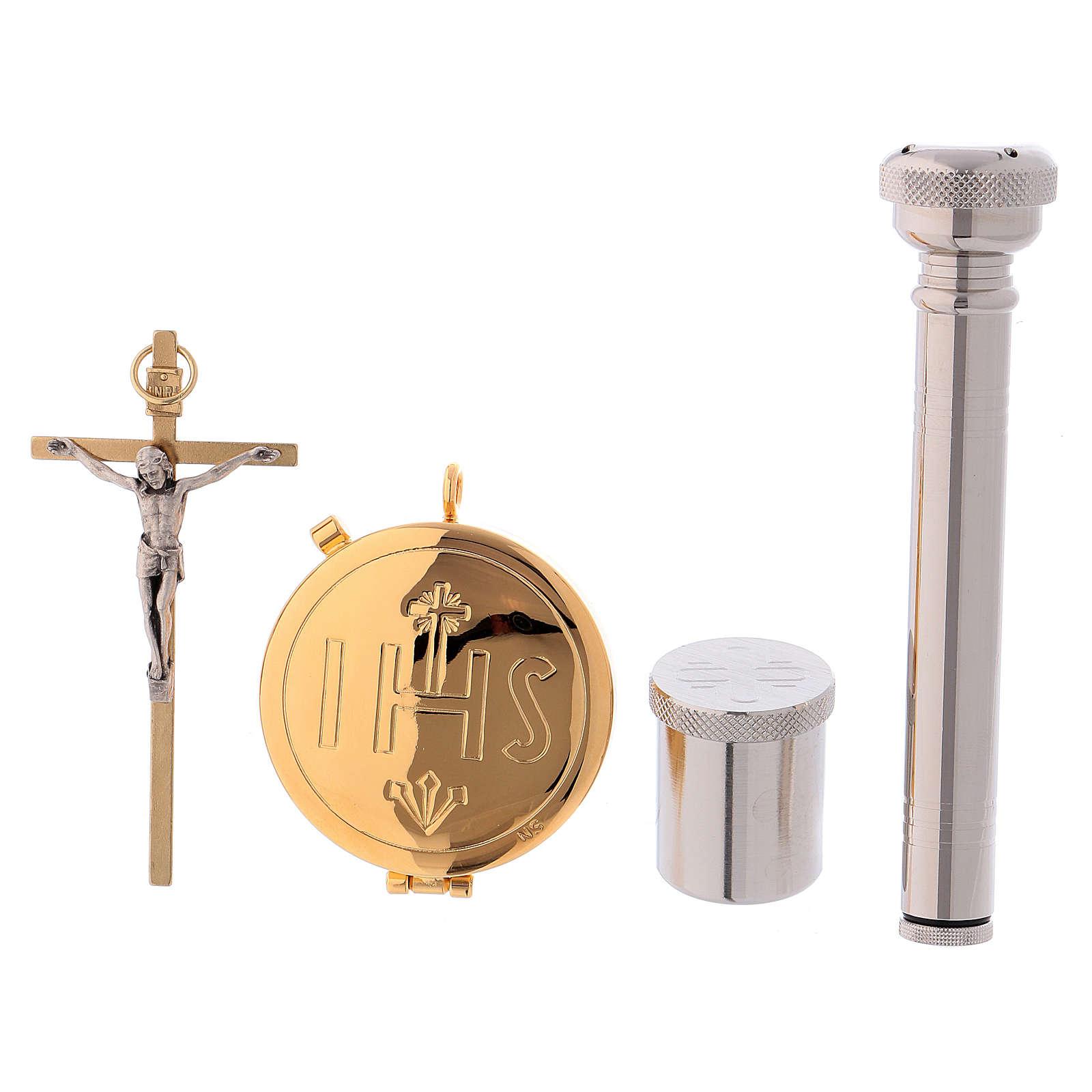 Valise-chapelle custode à hosties cuir noir et satin avec accessoires 3