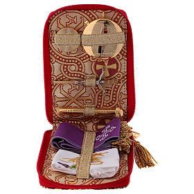 Étui valise-chapelle custode à hosties en brocart alpha et oméga s1