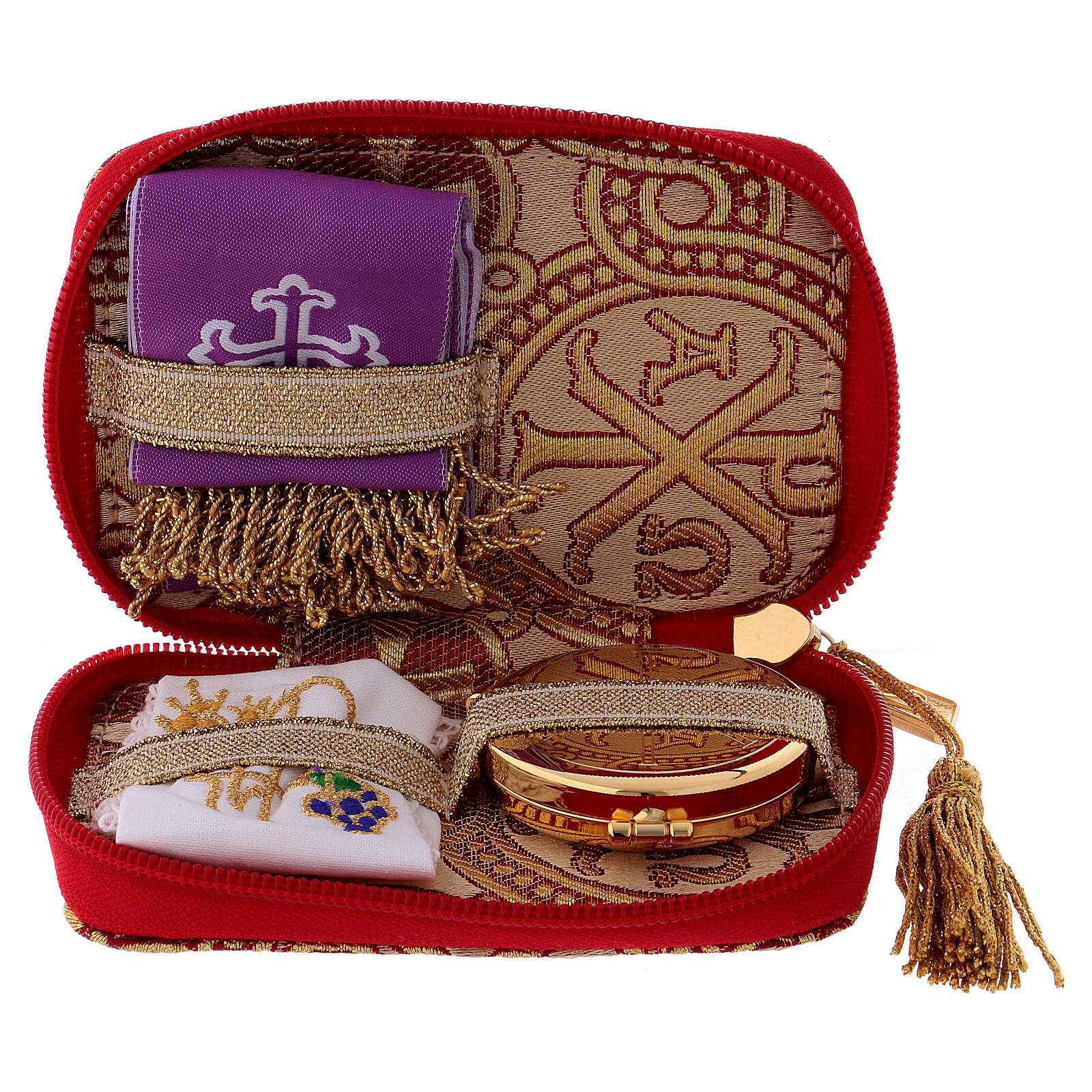 Pyx set with case in yellow brocade fabric, Alpha and Omega decoration 3