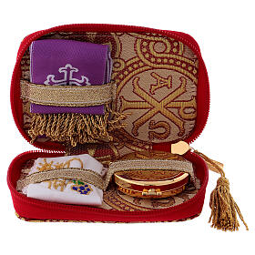 Pyx set with case in yellow brocade fabric, Alpha and Omega decoration s1