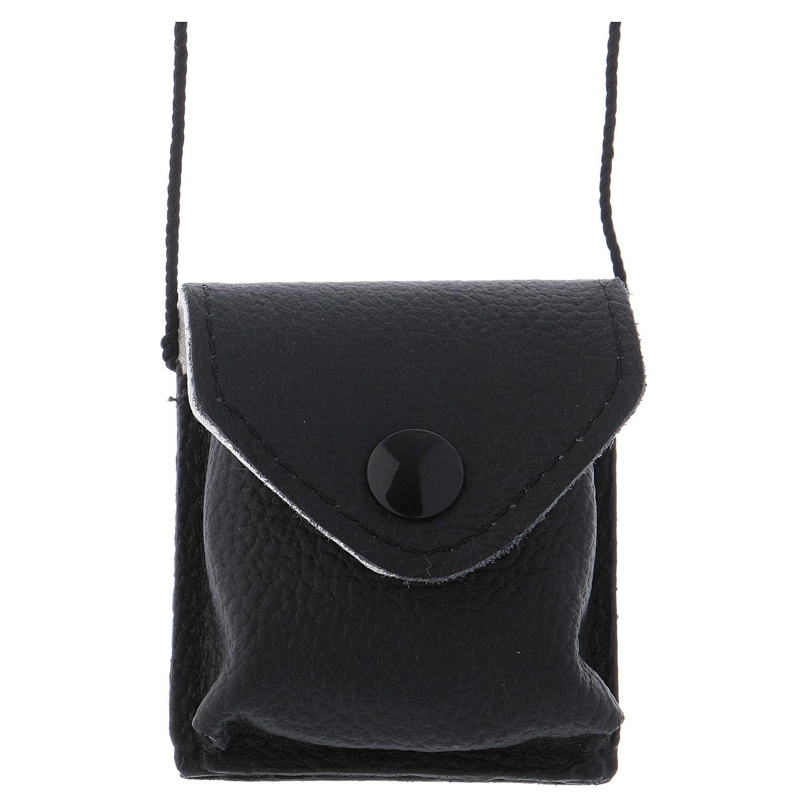 Bolso para relicario cuero negro y raso con relicario latón 3