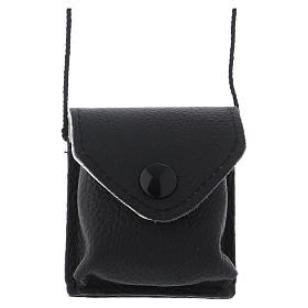 Relicarios eucarísticos: Bolso para relicario cuero negro y raso con relicario latón