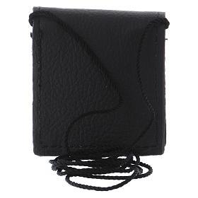 Bolso para relicario cuero negro y raso con relicario latón s5