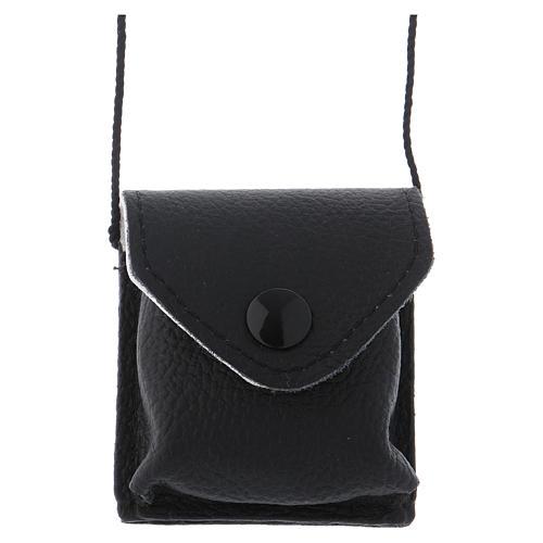 Bolso para relicario cuero negro y raso con relicario latón 1