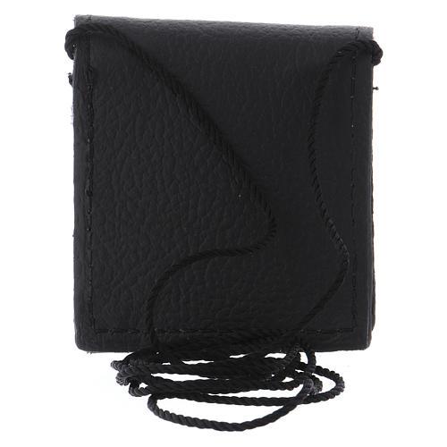 Bolso para relicario cuero negro y raso con relicario latón 5