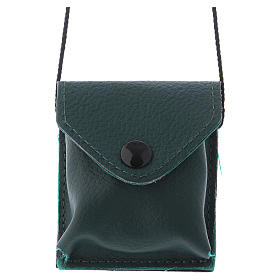 Relicarios eucarísticos: Bolso para relicario cuero verde y raso con relicario latón dorado
