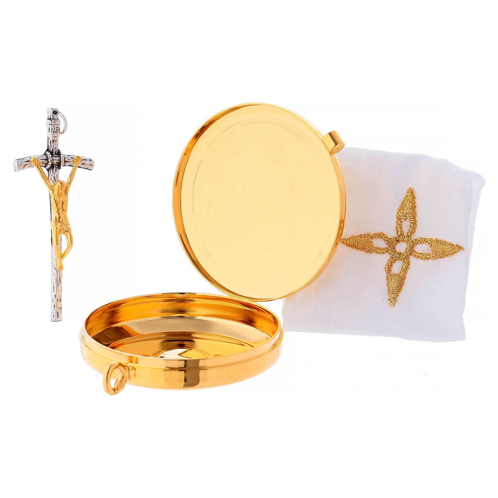 Sacoche custode à hosties laiton croix et purificatoire 3