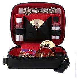 Bolsa tiracolo em couro com kit para Celebração Eucarística Interior Vermelho s3
