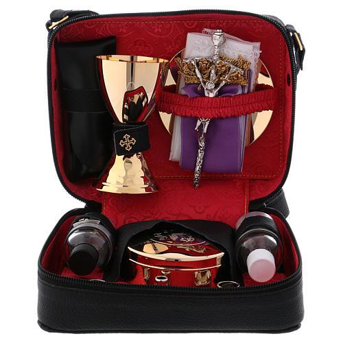 Bolsa tiracolo em couro com kit para Celebração Eucarística Interior Vermelho 1