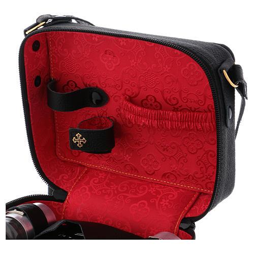Bolsa tiracolo em couro com kit para Celebração Eucarística Interior Vermelho 6