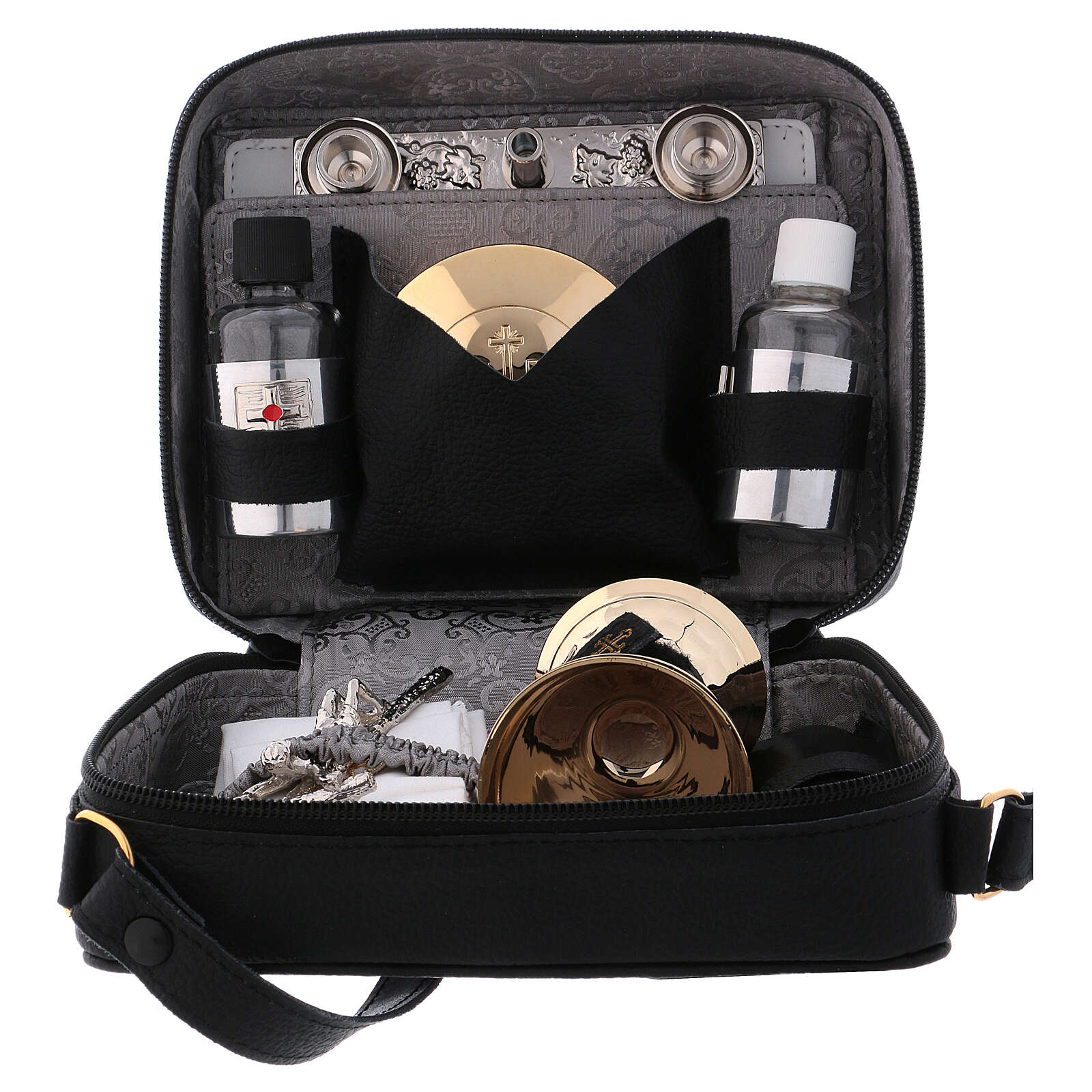 Mass kit with leather bag, lined with grey fabric 3