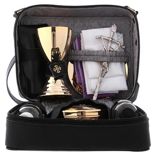 Bolsa tiracolo em couro com kit para Celebração Eucarística Interior Cinzento 1